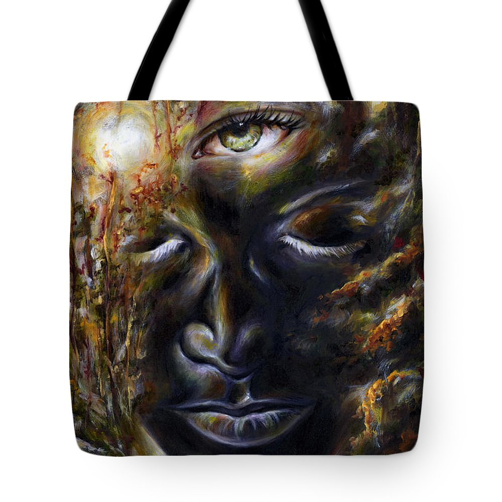 Eye Tote Bag featuring the painting Revelation by Hiroko Sakai