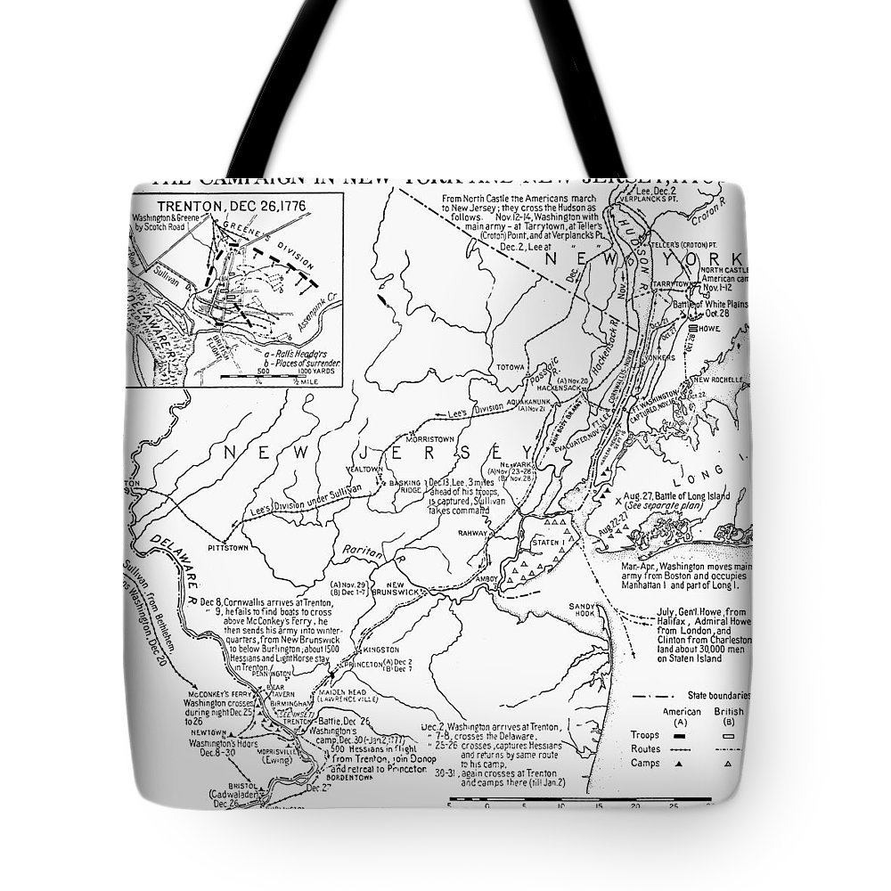1776 Tote Bag featuring the photograph Revolutionary War Map, 1776 by Granger
