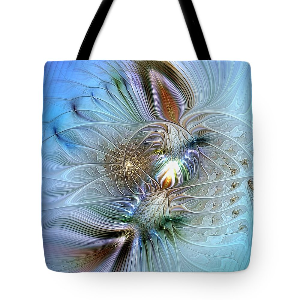Abstract Tote Bag featuring the digital art Rhapsodic Rendezvous by Casey Kotas