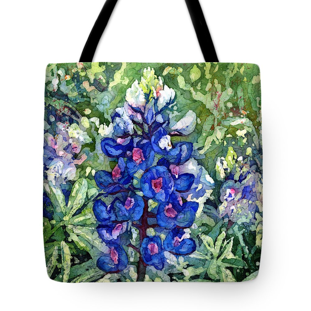 Bluebonnet Tote Bag featuring the painting Rhapsody In Blue by Hailey E Herrera