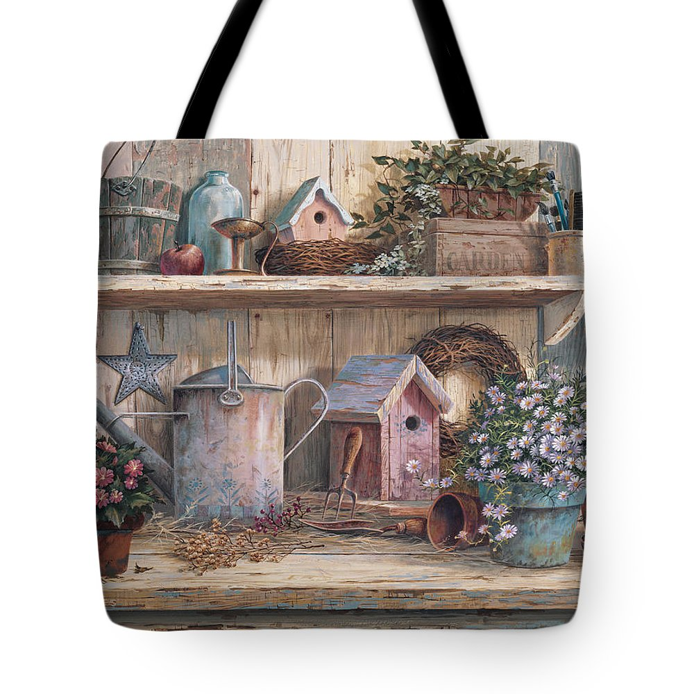 Garden Bench Tote Bag featuring the painting Rhapsody In Rose by Michael Humphries