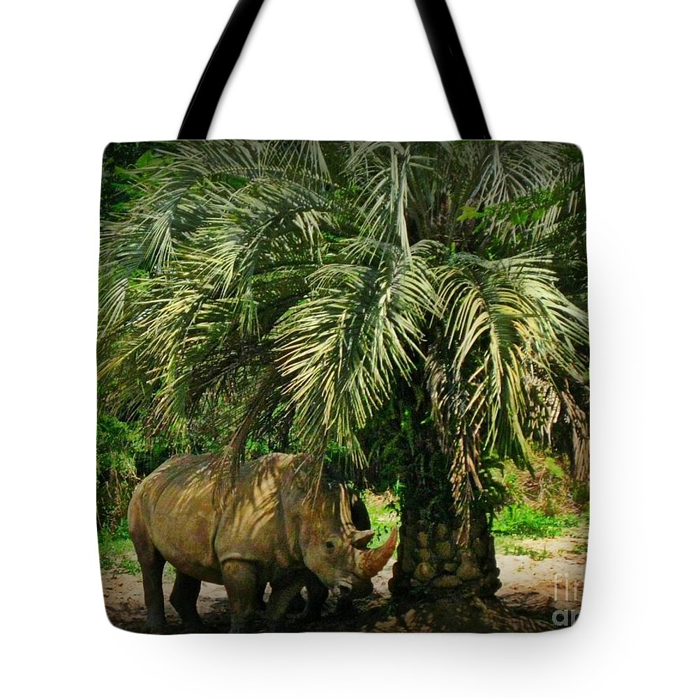 Rhino Tote Bag featuring the photograph Rhino In Florida by John Malone
