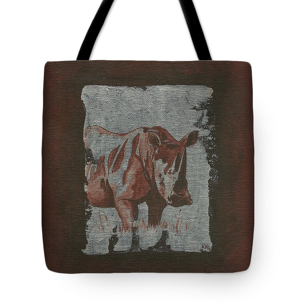 Rhino Tote Bag featuring the painting Rhinoceros by Konni Jensen