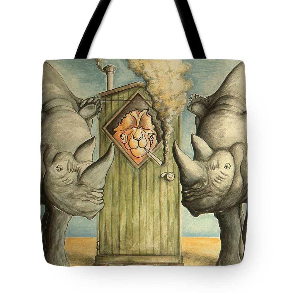 Trump Tote Bag featuring the drawing America Under Pressure - Anti Trump Cartoon by Peter Potter