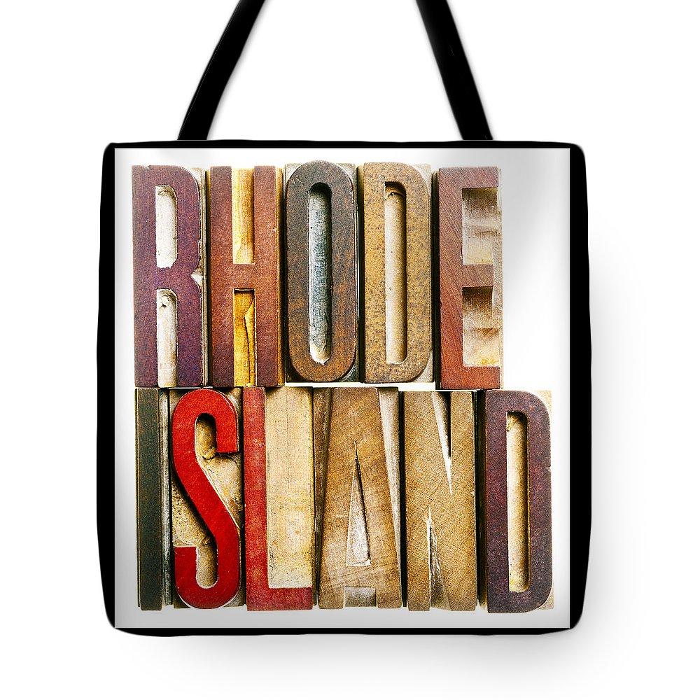 Rhode Island Tote Bag featuring the photograph Rhode Island Antique Letterpress Printing Blocks by Donald Erickson