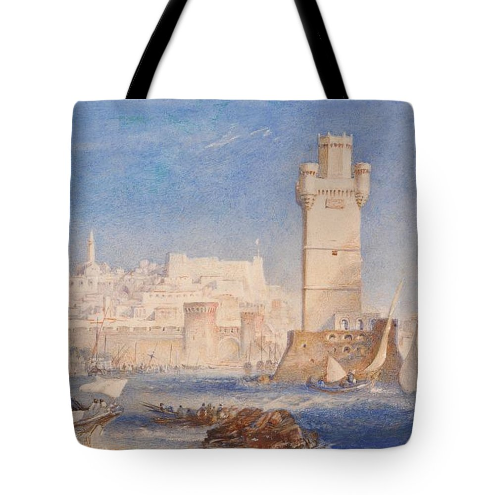 1823 Tote Bag featuring the painting Rhodes by JMW Turner