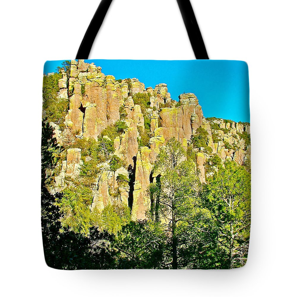 Rhyolite Columns On Ed Riggs Trail In Chiricahua National Monument Tote Bag featuring the photograph Rhyolite Columns On Ed Riggs Trail In Chiricahua National Monument-arizona by Ruth Hager