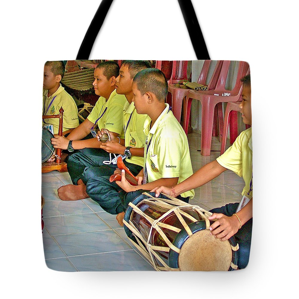 Rhythm Section In Traditional Thai Music Class At Baan Konn Soong School In Sukhothai Tote Bag featuring the photograph Rhythm Section In Traditional Thai Music Class At Baan Konn Soong School In Sukhothai-thailand by Ruth Hager