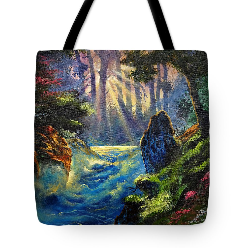 Landscape Tote Bag featuring the painting Rhythms Of A Vision by Marco Antonio Aguilar