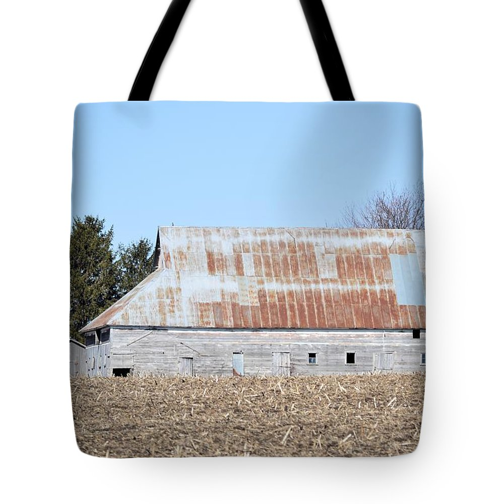 Rust Tote Bag featuring the photograph Ribbon Roof Barn by Bonfire Photography