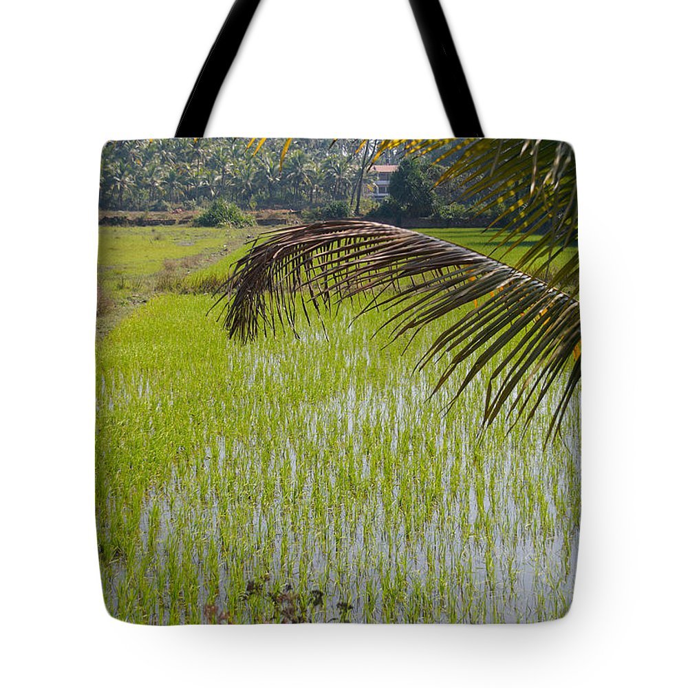 Farming Tote Bag featuring the digital art Rice Paddy by Carol Ailles