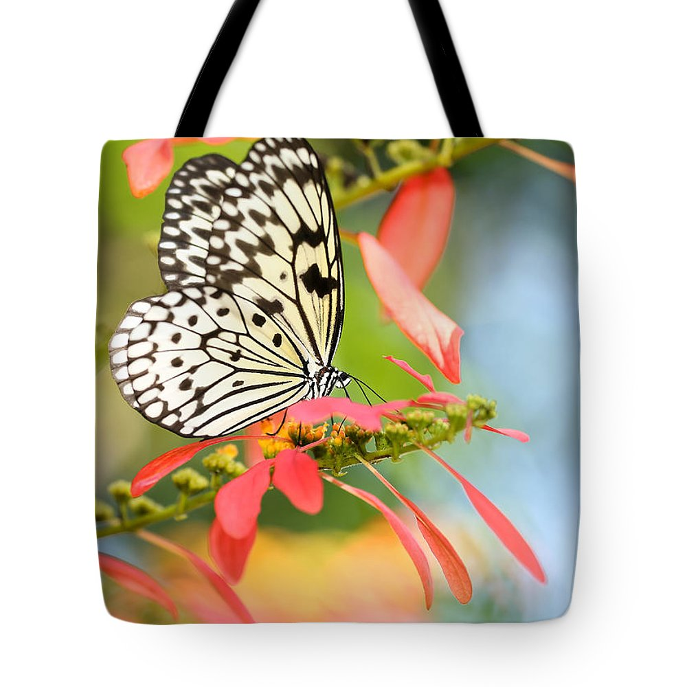 Macro Tote Bag featuring the photograph Rice Paper Butterfly In The Garden by Sabrina L Ryan