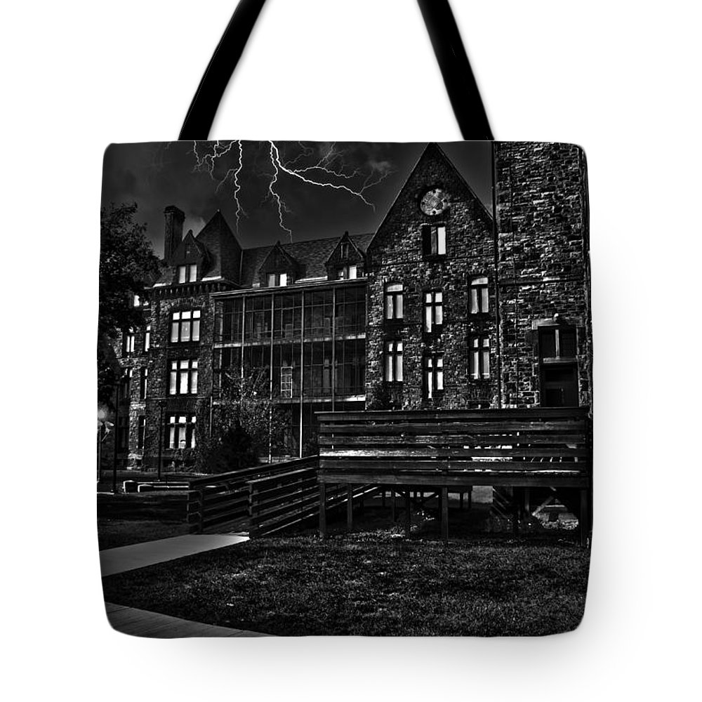 Archtecture Tote Bag featuring the photograph Richardson Complex B And W by Jim Markiewicz