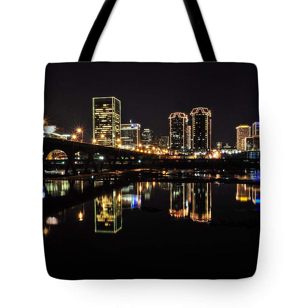 Rva Tote Bag featuring the photograph Richmond Night Skyline by Stacy Abbott