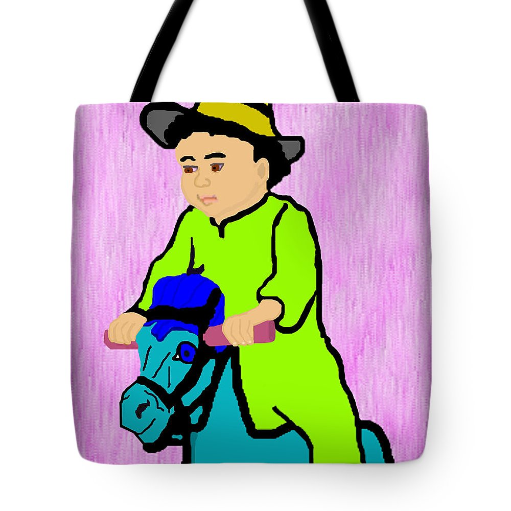Toddler Tote Bag featuring the drawing Ride The Horsey by Pharris Art