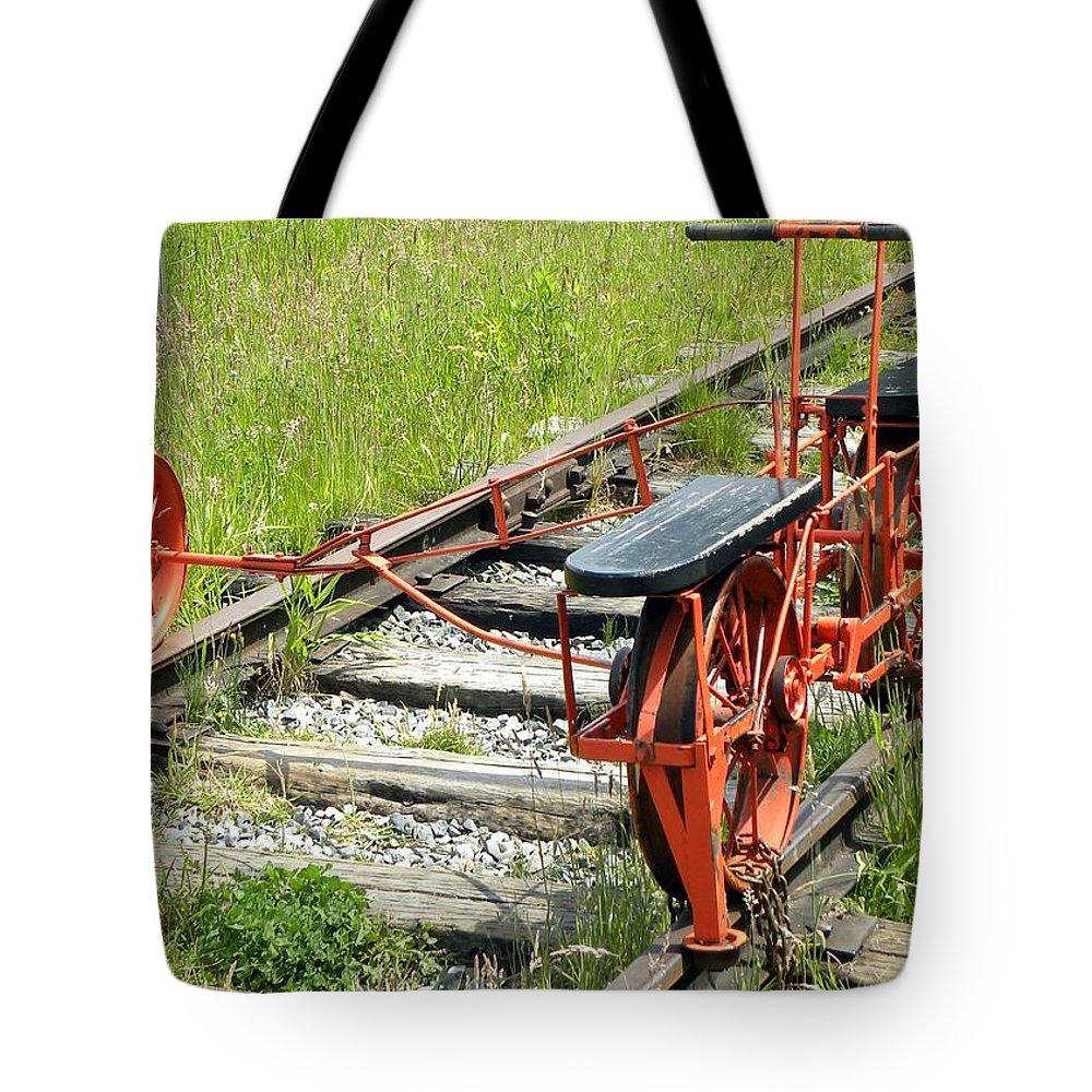 Rail Tote Bag featuring the photograph Ride The Rail by Brigitte Mueller