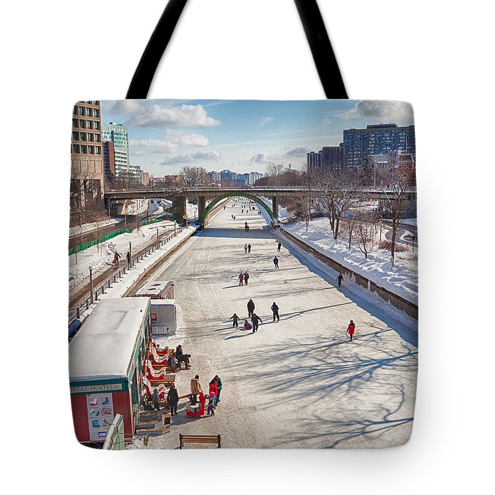 Winter Tote Bag featuring the photograph Rideau Skateway by Eunice Gibb