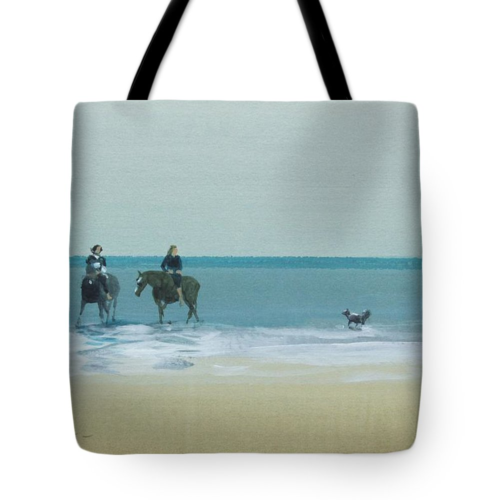Horses Tote Bag featuring the pastel Riders On The Beach by Derek Williams