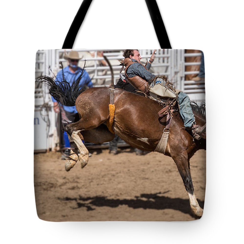 Arizona Tote Bag featuring the photograph Riding Bronco by James Gordon Patterson