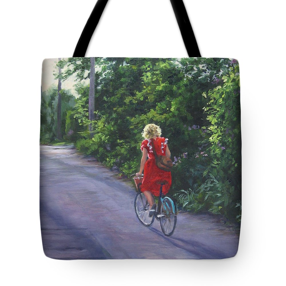 Figurative Tote Bag featuring the painting Into The Sunset by Connie Schaertl