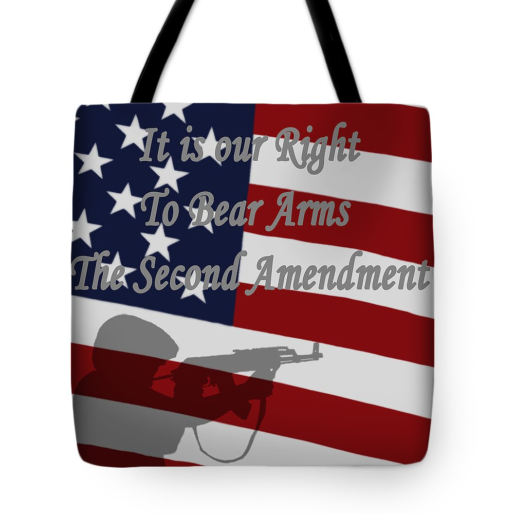 Right To Bear Arms Tote Bag featuring the digital art Right To Bear Arms by Ernie Echols