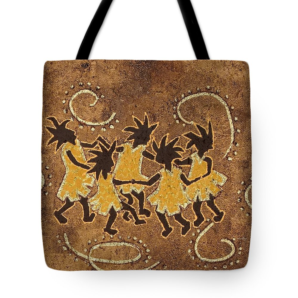 Kokopelli Tote Bag featuring the painting Ring-around-the Rosie by Katherine Young-Beck