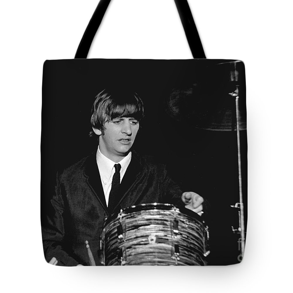 Beatles Tote Bag featuring the photograph Ringo Starr, Beatles Concert, 1964 by Larry Mulvehill
