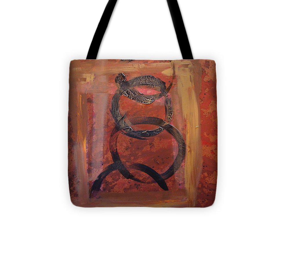 Abstract Tote Bag featuring the painting Rings - Circles Of Life by Holly Picano