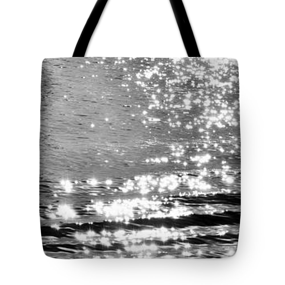 Black And White Tote Bag featuring the photograph Ripples And Diamonds by Allan Van Gasbeck