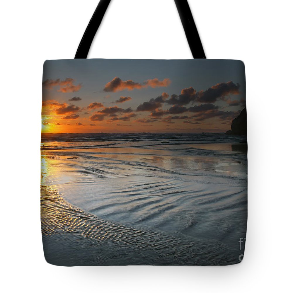 Hug Point Tote Bag featuring the photograph Ripples On The Beach by Mike Dawson