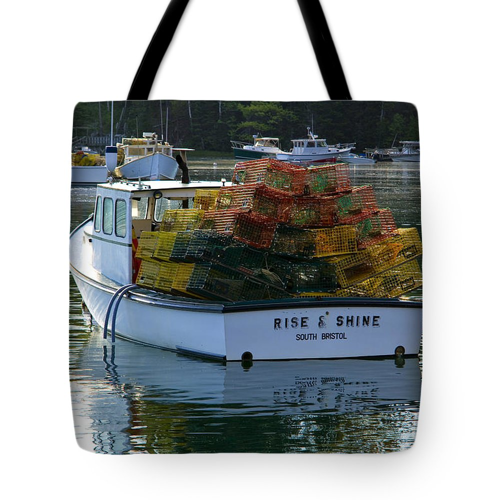 Lobster Boat Tote Bag featuring the photograph Rise And Shine by Diana Powell