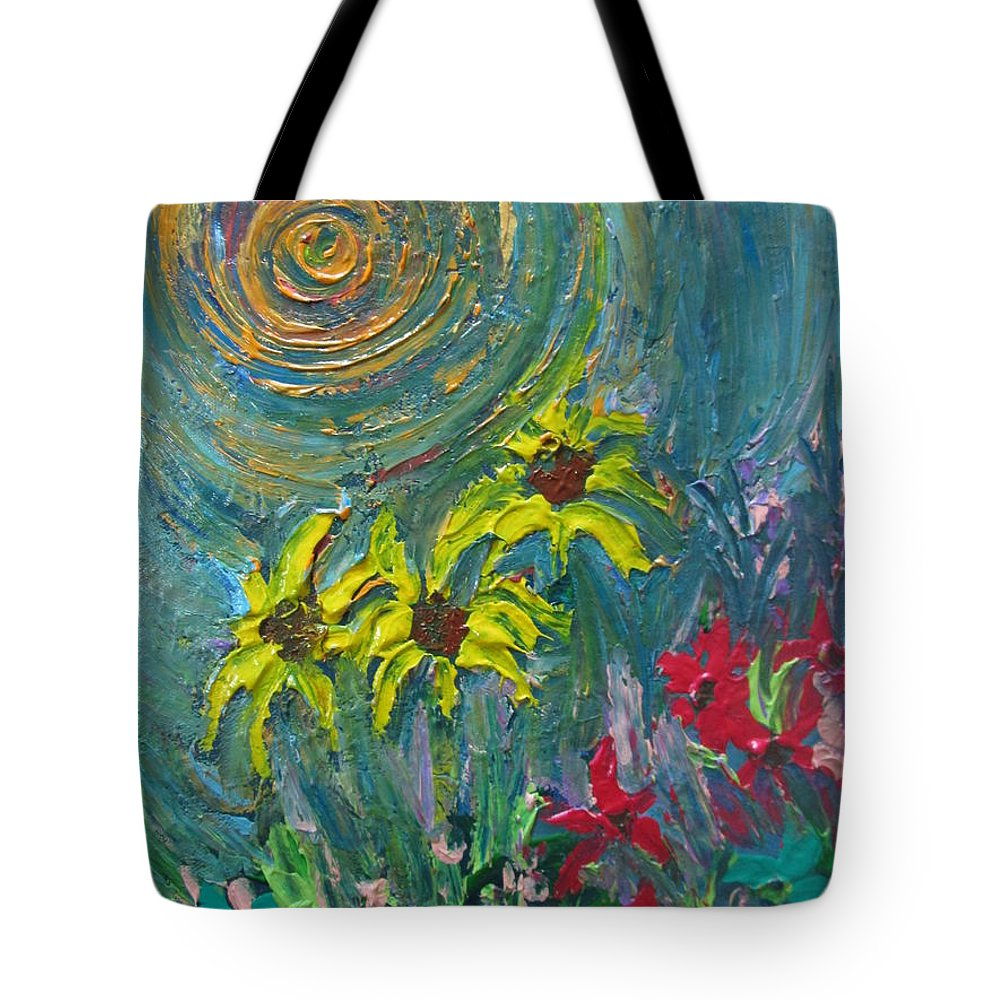 Flowers Tote Bag featuring the painting Rise by Mataji Villareal - Sharma