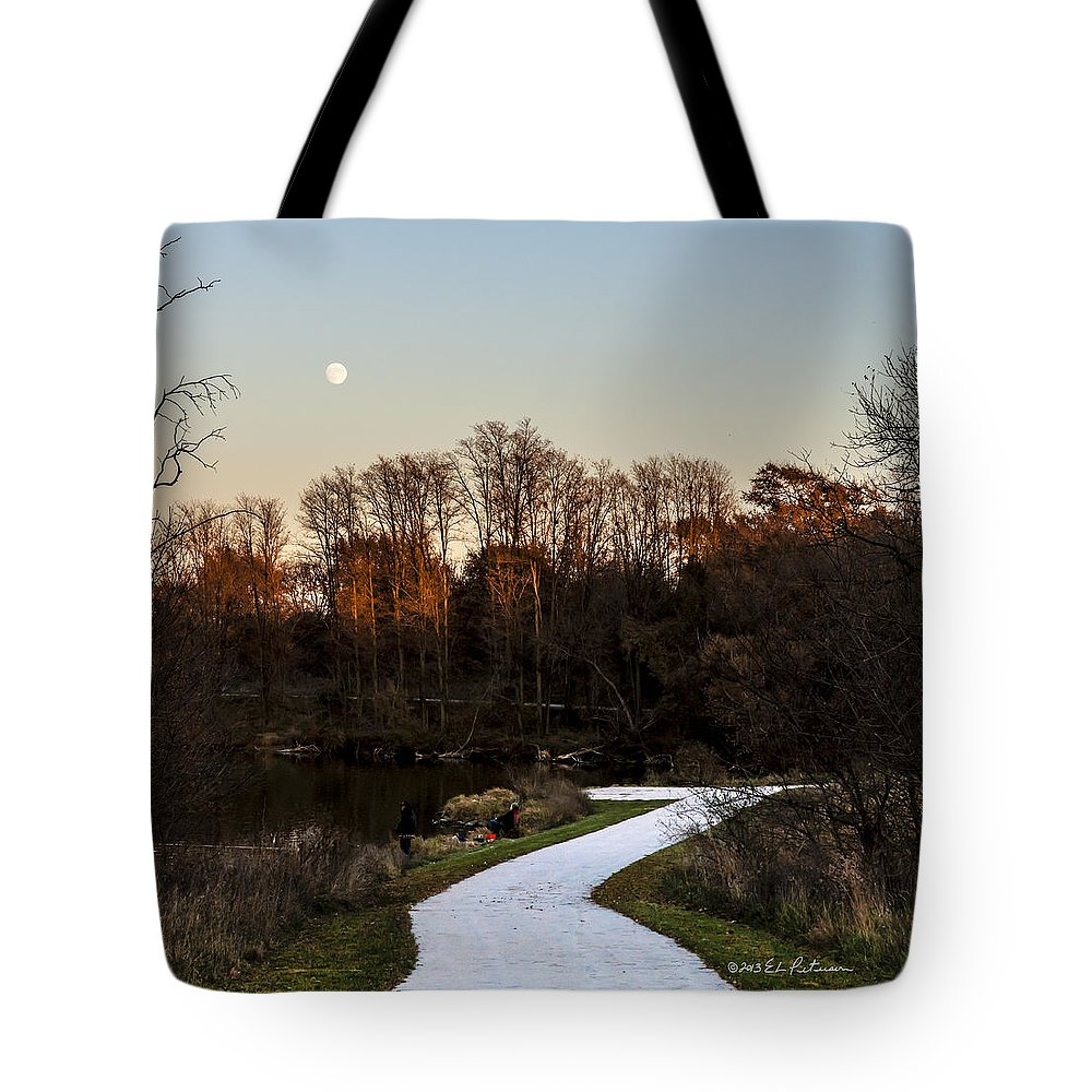 Fall Tote Bag featuring the photograph Rising Moon Fishing by Edward Peterson