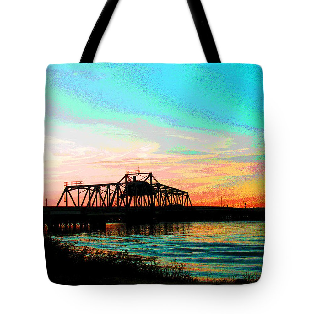 Rising Sun Tote Bag featuring the digital art Rising Sun On The Mokelumne River by Joseph Coulombe