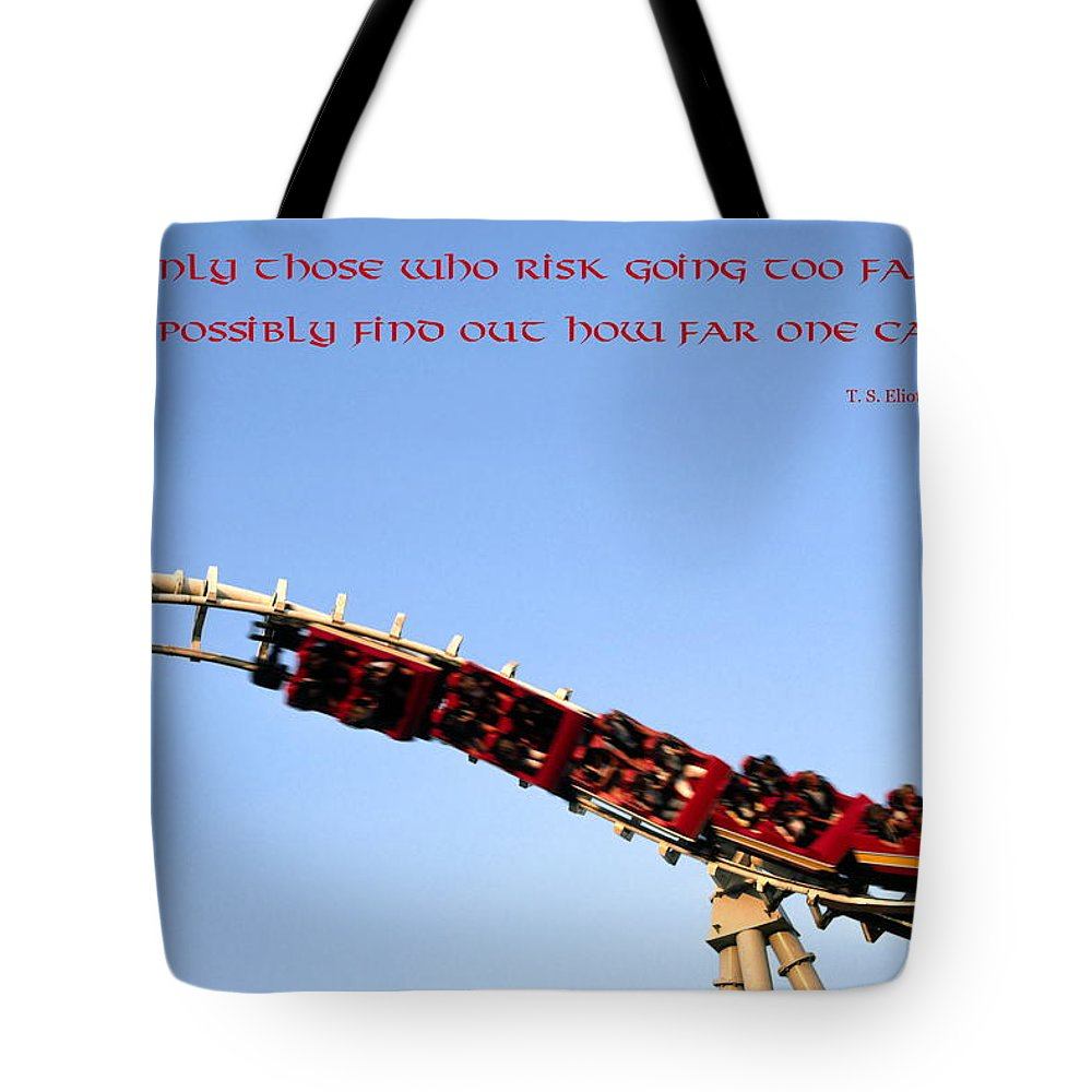 Roller Coaster Twisting Upside Down Tote Bag featuring the photograph Risk by Sally Weigand