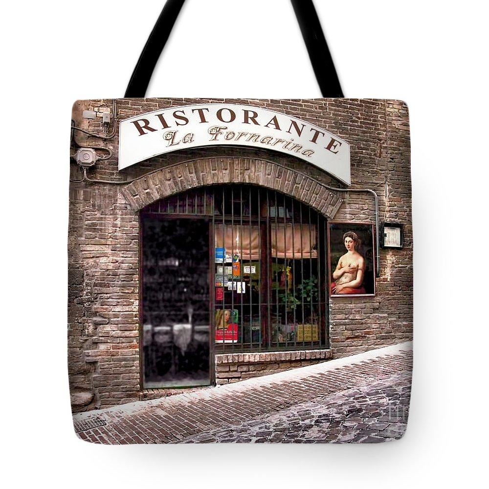 Italy Tote Bag featuring the photograph Ristorante La Fornaina. Urbino by Jennie Breeze