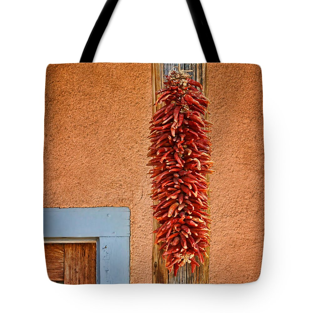 Chile Ristra Tote Bag featuring the photograph Ristra And Door by Nikolyn McDonald