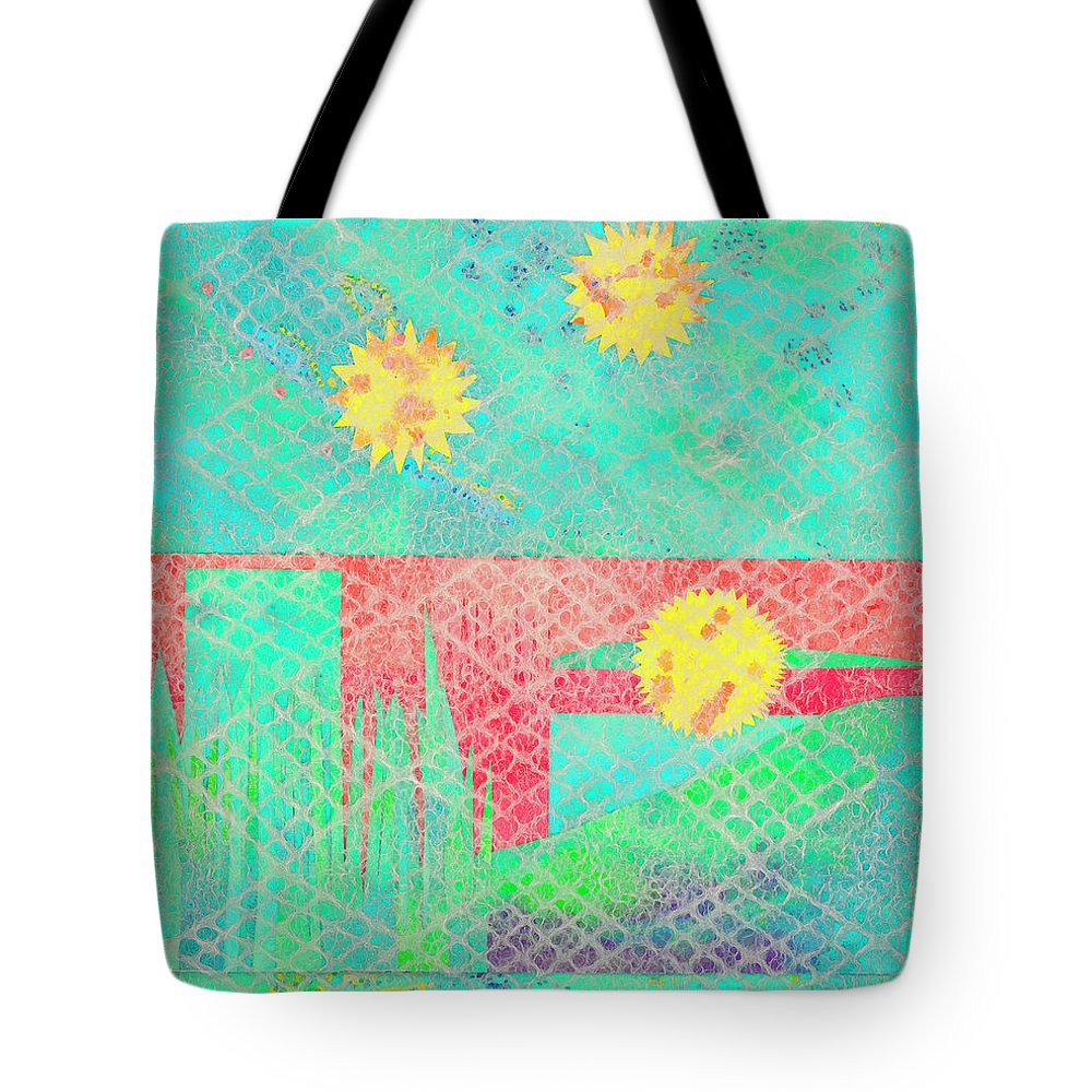 Abstract Tote Bag featuring the mixed media Rita's Meadow by Strangefire Art    Scylla Liscombe