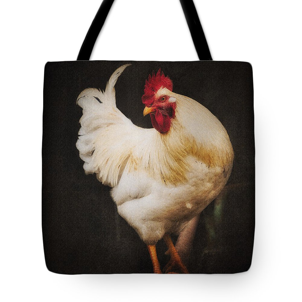 Rooster Tote Bag featuring the photograph Rita's Rooster by Ron McGinnis