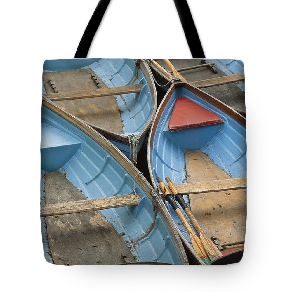 Boat Tote Bag featuring the photograph River Boats by Doug McKinlay