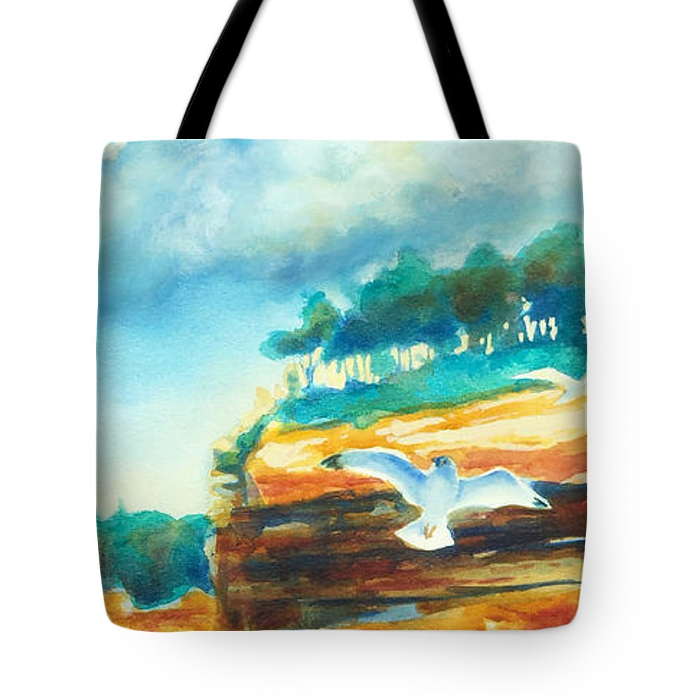 Paintings Tote Bag featuring the painting River Cliffs 2 by Kathy Braud