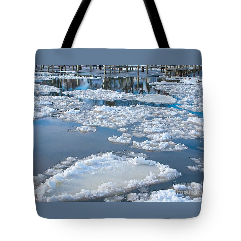 Ice Tote Bag featuring the photograph River Ice by Ann Horn