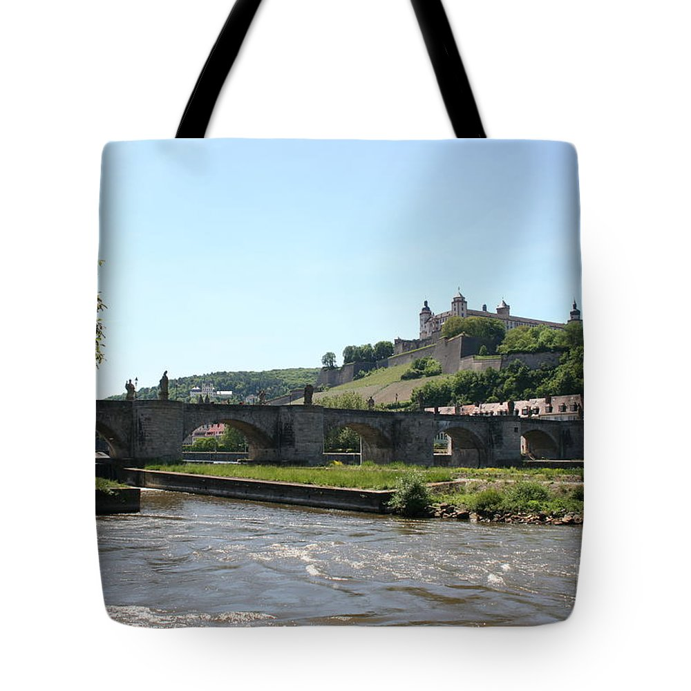 River Tote Bag featuring the photograph River Main With Fortress - Wuerzburg by Christiane Schulze Art And Photography
