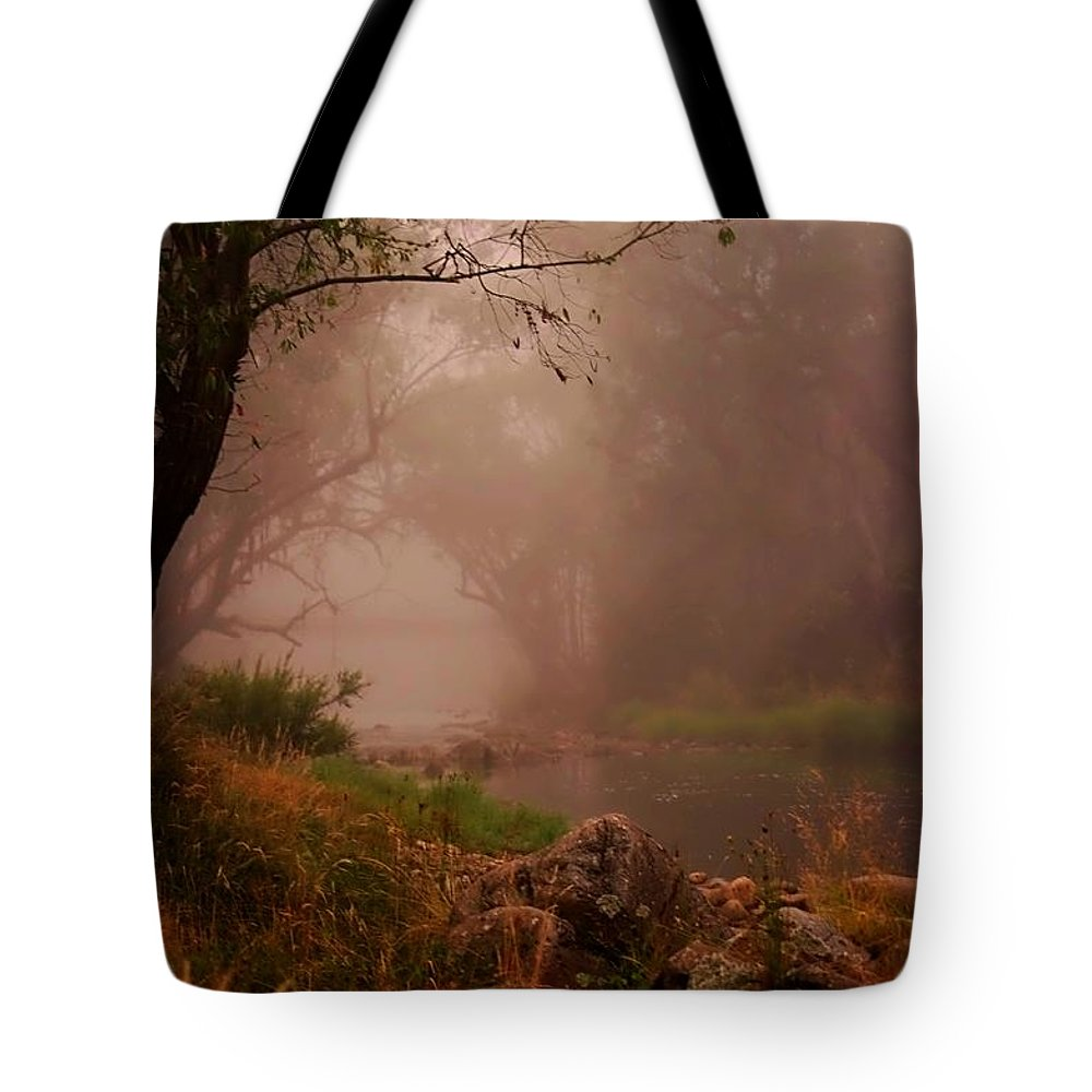 Photography Tote Bag featuring the digital art River Mist On A Mystical Morning by Blair Stuart