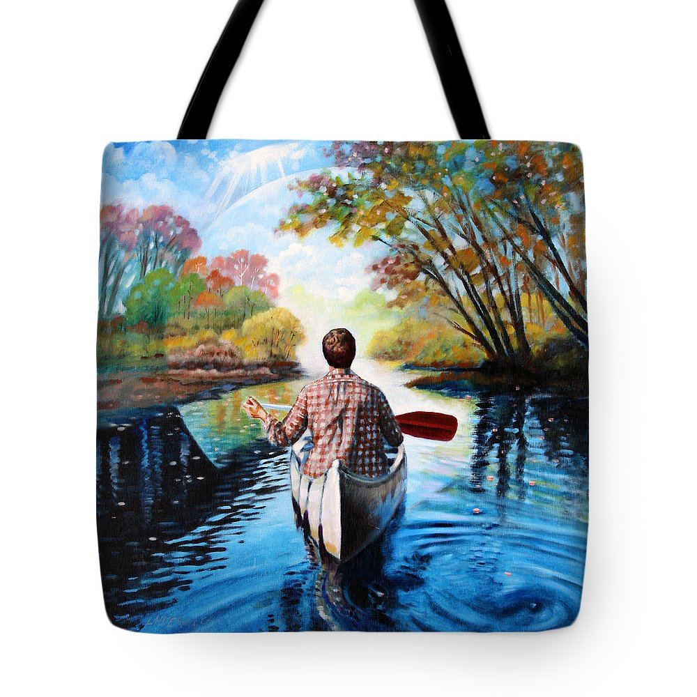 River Tote Bag featuring the painting River Of Dreams by John Lautermilch
