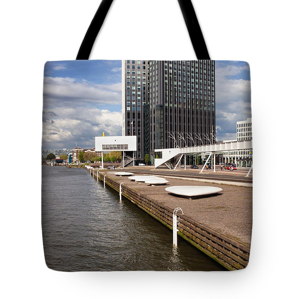 Rotterdam Tote Bag featuring the photograph River Promenade In Rotterdam by Artur Bogacki
