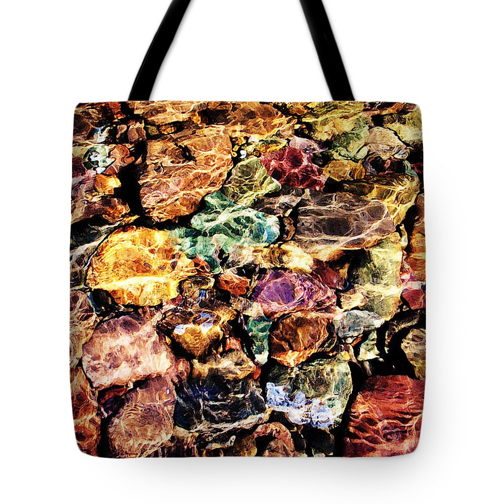 River Tote Bag featuring the photograph River Rock Rainbow by Joseph Noonan