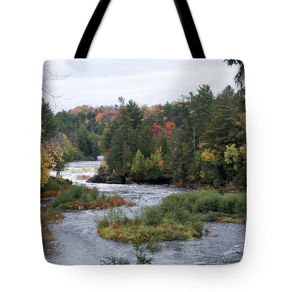 Lower Tahquamenon Falls Tote Bag featuring the photograph River Run by Linda Kerkau