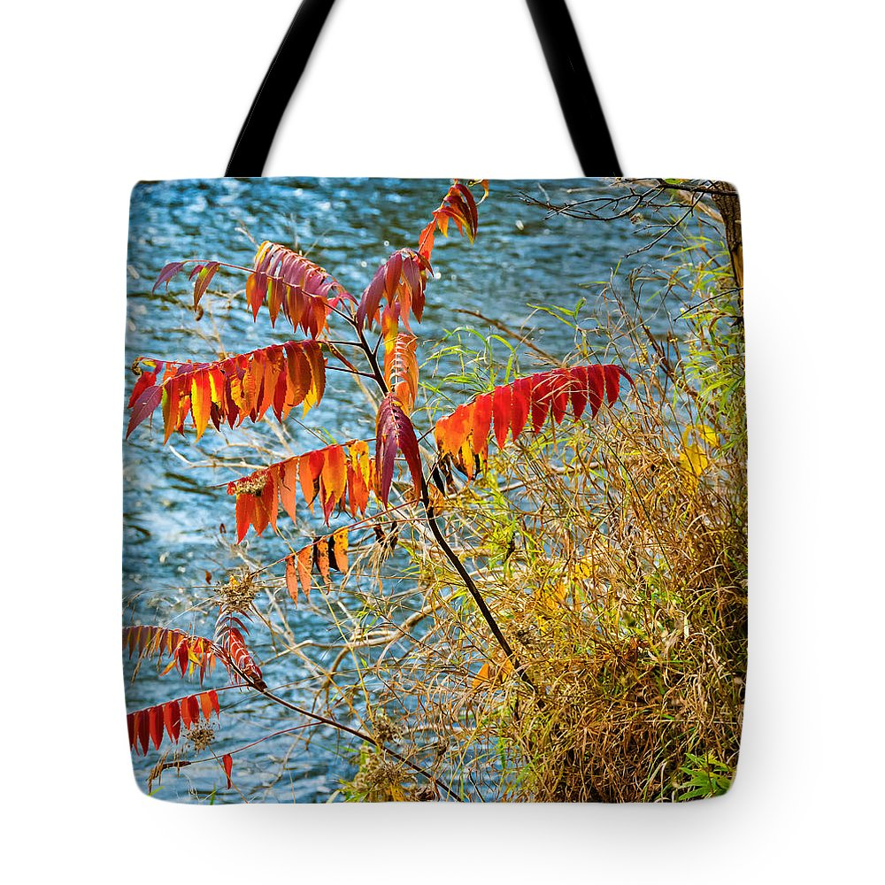 River Tote Bag featuring the photograph River Sumac by Steve Harrington