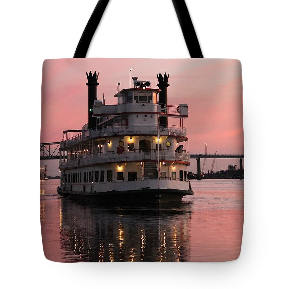 Riverboat Tote Bag featuring the photograph Riverboat At Sunset by Cynthia Guinn